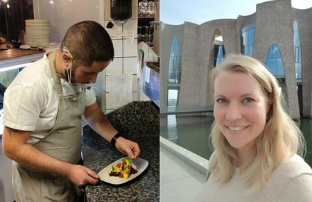 Portræt. Marco anretter mad. Susette foran Fjordenhus.